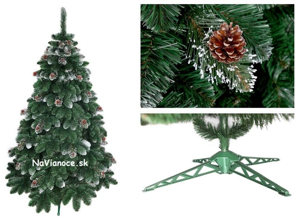 vianočný stromček so snehom a šiškami