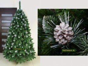 strieborný vianočný stromček so šiškami